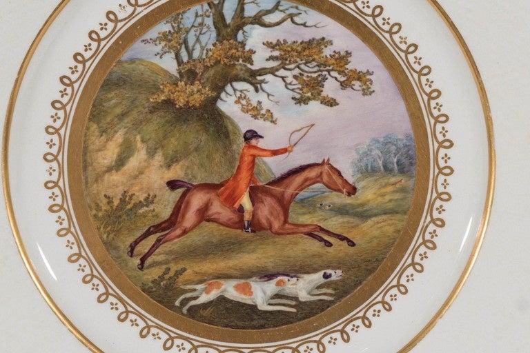Antiker Englischer Teller mit Fuchsjäger Szene 2