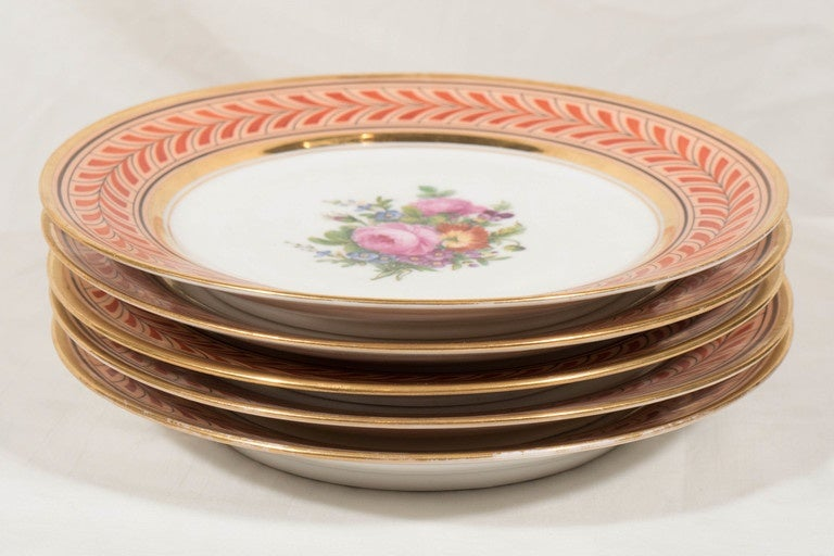 Set of Antique French Porcelain Plates Hand-Painted IN STOCK In Excellent Condition For Sale In New York, NY