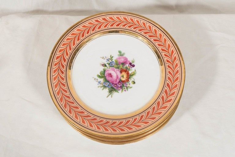 Early 19th Century  Set of Antique French Porcelain Plates Hand-Painted IN STOCK For Sale