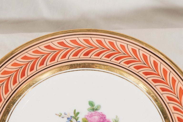 Set of Antique French Porcelain Plates Hand-Painted IN STOCK For Sale 1