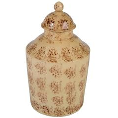 Antique Creamware Tea Caddy with Sponged Decoration