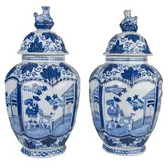 Blue and White Delft Jars Pair