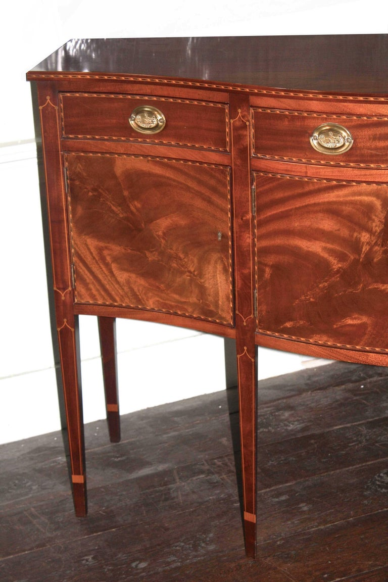 American Federal Revival Inlaid Mahogany Sideboard For Sale 2