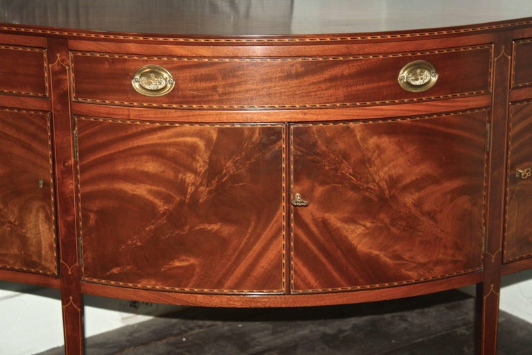 American Federal Revival Inlaid Mahogany Sideboard For Sale 3