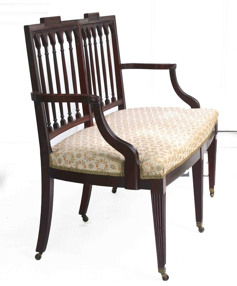 Upholstery American Hepplewhite Revival Bench For Sale