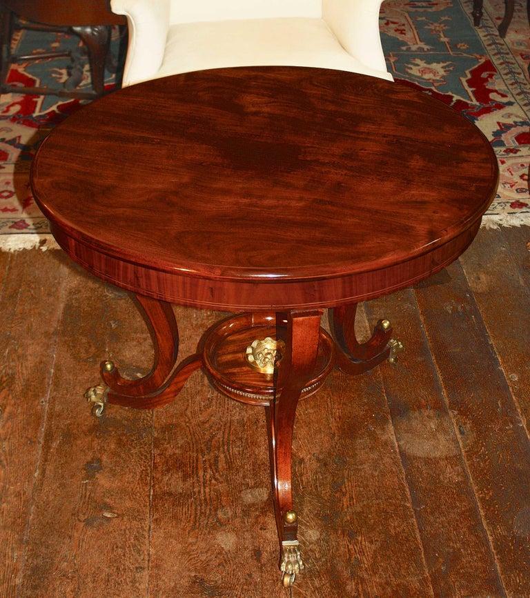 Hand-Carved German Biedermeier Center Table For Sale