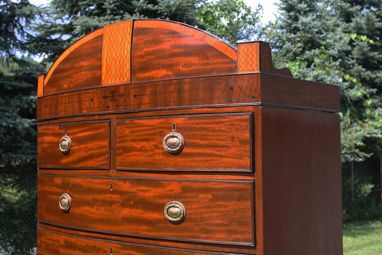 Hand-Crafted Georgian Domed Pediment Bowfront Chest on Chest For Sale