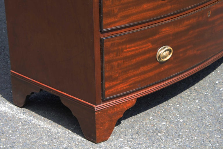 Mahogany Georgian Domed Pediment Bowfront Chest on Chest For Sale