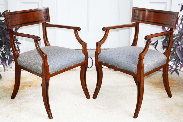 Ebony Fourteen English Regency Klismos Dining Chairs For Sale