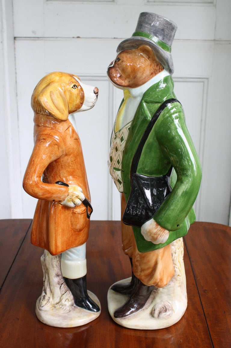Victorian Ceramic Equestrian Canine Couple For Sale