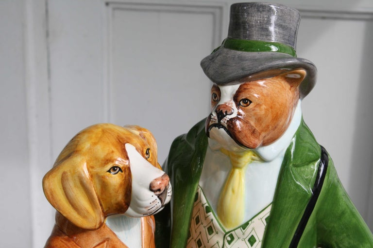 Ceramic Equestrian Canine Couple In Excellent Condition For Sale In Woodbury, CT