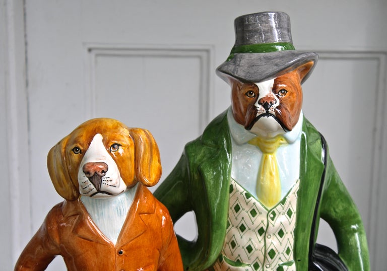 Late 20th Century Ceramic Equestrian Canine Couple For Sale