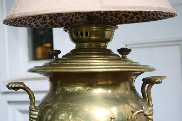 Brass Samovar Lamp In Good Condition For Sale In Woodbury, CT
