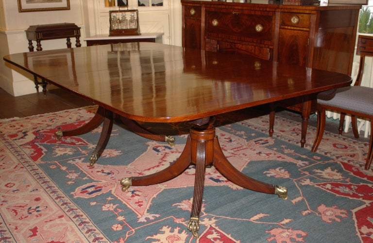 Hand-Carved George III Double Pedestal Mahogany Dining Table For Sale