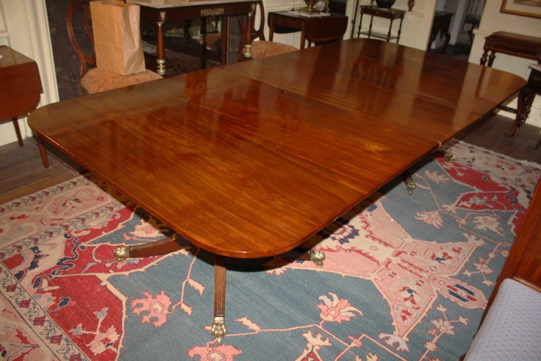 English George III Double Pedestal Mahogany Dining Table For Sale