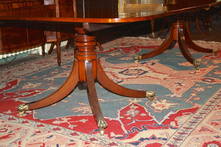 George III Double Pedestal Mahogany Dining Table For Sale 1