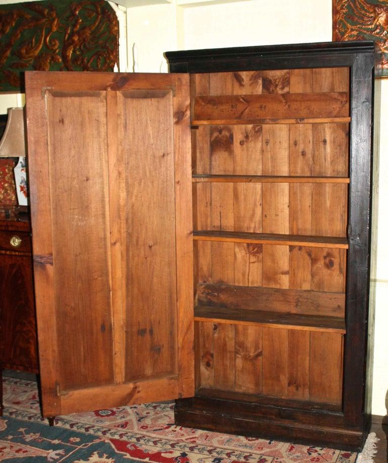 Rustic Ebonised American Pine Pantry Cupboard For Sale