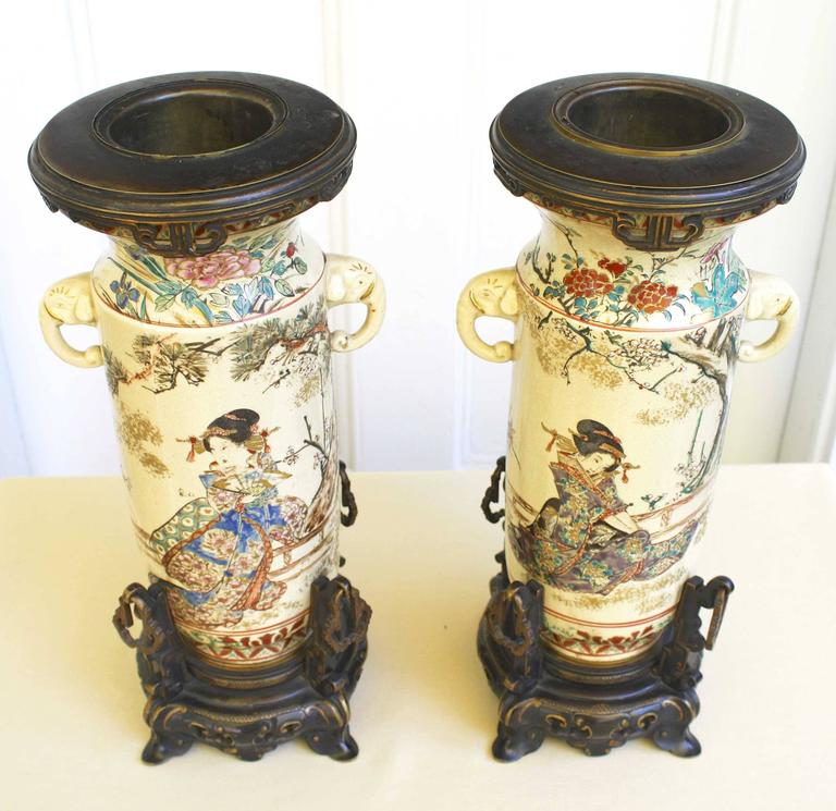 Hand-Crafted PAIR of Japanese Satsuma Vases For Sale