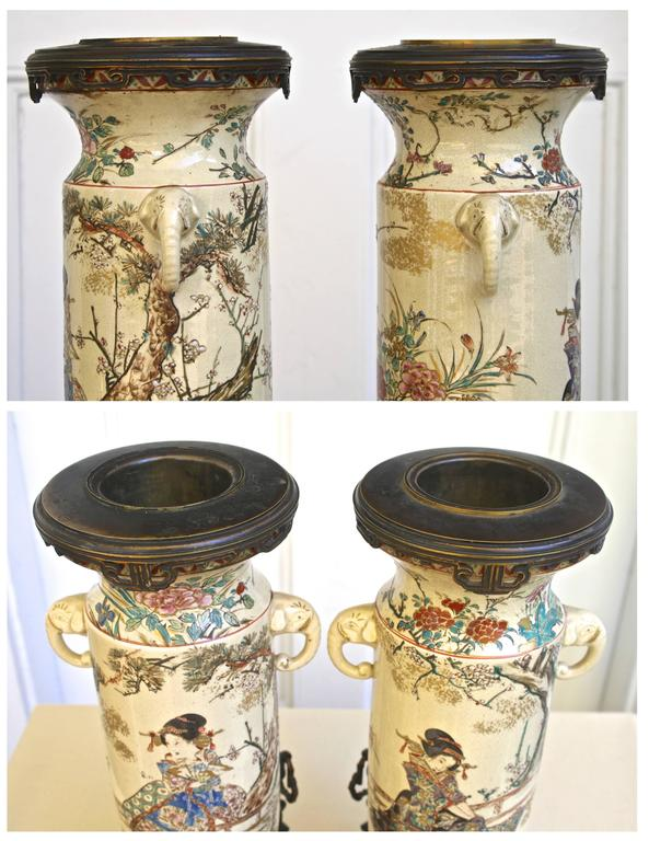 Bronze PAIR of Japanese Satsuma Vases For Sale