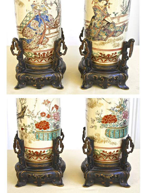 19th Century PAIR of Japanese Satsuma Vases For Sale