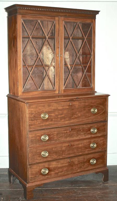 Federal Maryland Hepplewhite Secretary Bookcase For Sale