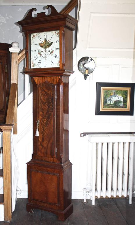 Hand-Carved English Regency Tall Case Clock For Sale
