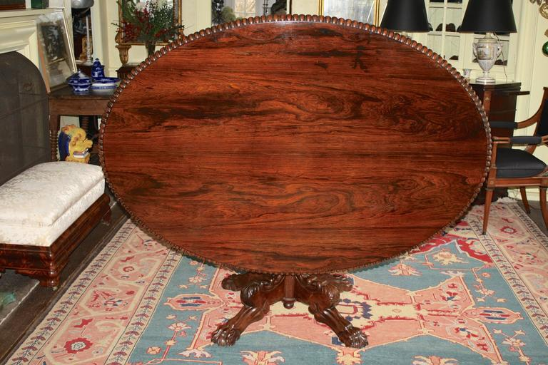 William IV Anglo-Indian Oval Rosewood Pedestal Table For Sale
