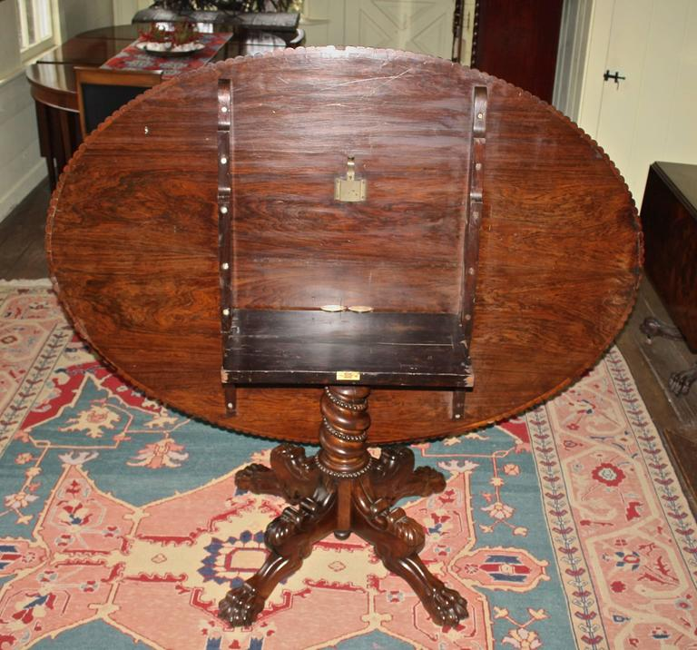 Hand-Carved Anglo-Indian Oval Rosewood Pedestal Table For Sale