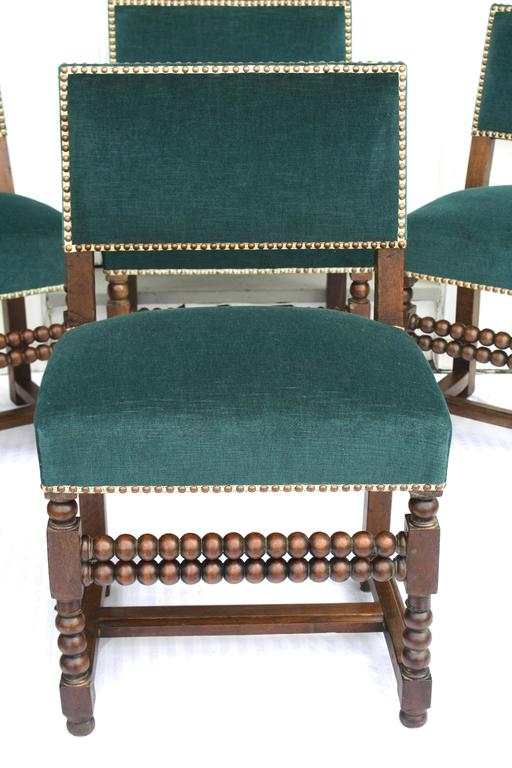 Hand-Carved SIX Louis XIII Dining Chairs For Sale