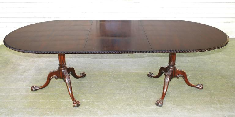 Early 20th century benchmade Chippendale Revival Cuban mahogany double pedestal dining table. With the single 24