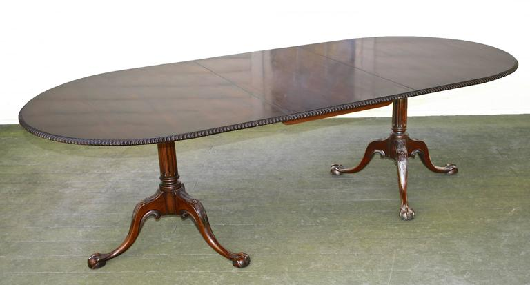 American Philadelphia Chippendale Revival Double Pedestal Dining Table For Sale