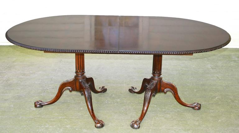 Philadelphia Chippendale Revival Double Pedestal Dining Table 4