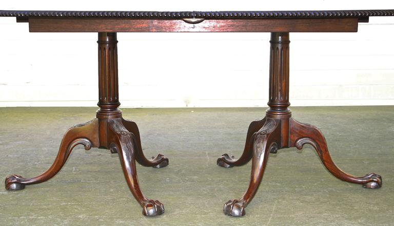 20th Century Philadelphia Chippendale Revival Double Pedestal Dining Table For Sale