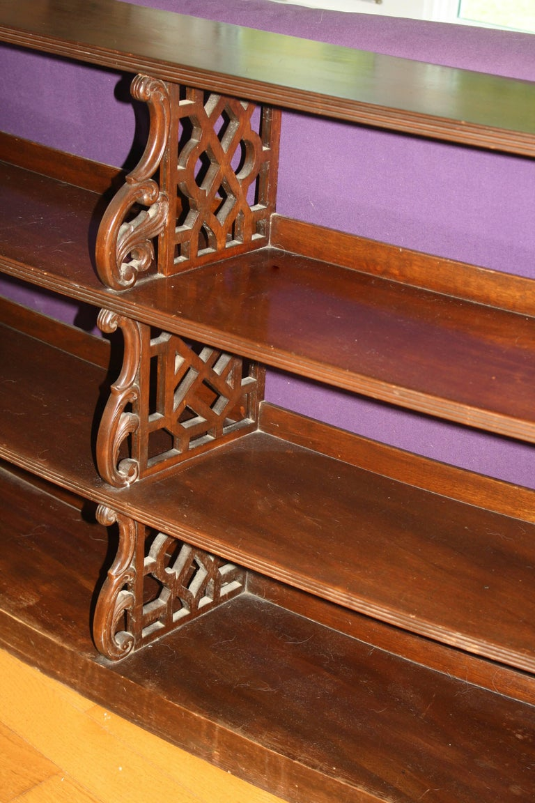 20th Century Edwardian Chinese Chippendale Sofa-Back Bookcase For Sale