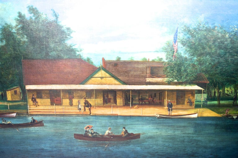A framed oil on canvas of an historical 'casino' boathouse on the Pawtuxet River