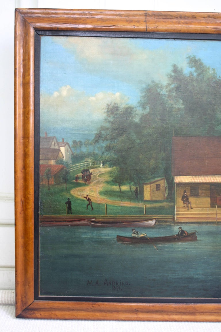 "American ""Rhodes on the Pawtuxet"" Painting by M. A. Andrieu For Sale"