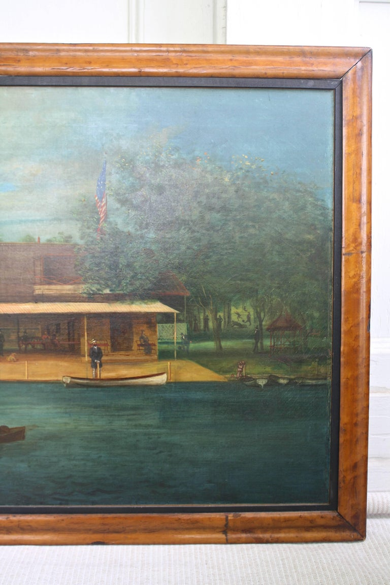 """Rhodes on the Pawtuxet"" Painting by M. A. Andrieu In Good Condition For Sale In Woodbury, CT"