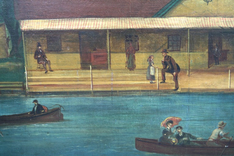 "Late 19th Century ""Rhodes on the Pawtuxet"" Painting by M. A. Andrieu For Sale"