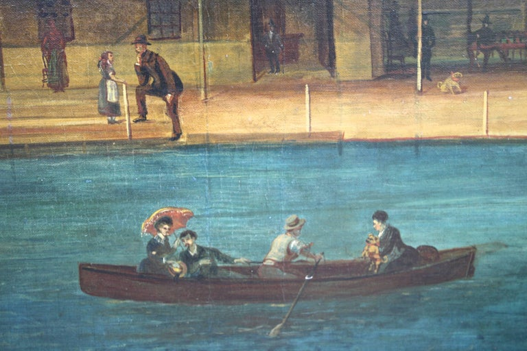 "Canvas ""Rhodes on the Pawtuxet"" Painting by M. A. Andrieu For Sale"