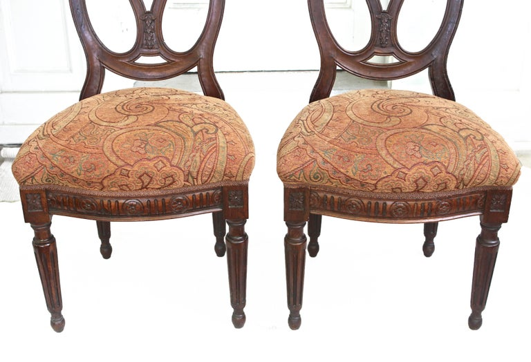 Upholstery Pair of Italian Neoclassical Walnut Side Chairs For Sale