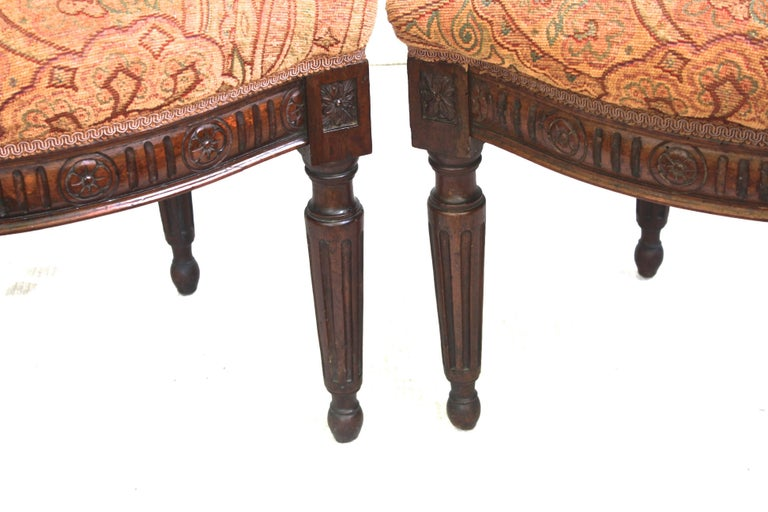 Pair of Italian Neoclassical Walnut Side Chairs For Sale 1