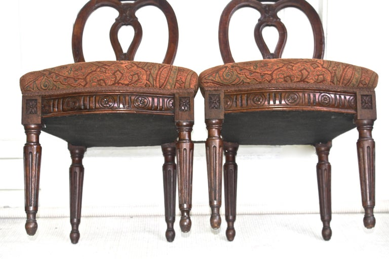 Pair of Italian Neoclassical Walnut Side Chairs For Sale 4