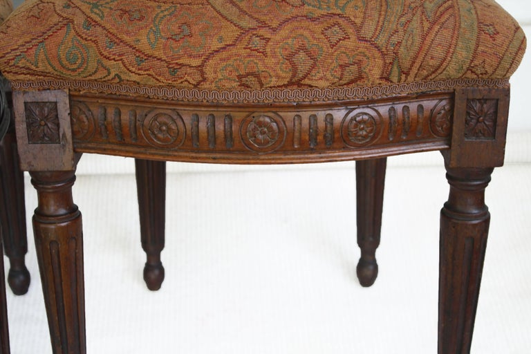 Pair of Italian Neoclassical Walnut Side Chairs For Sale 2