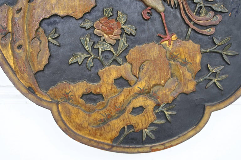 Chinese Quatrefoil Pheasant Panel In Good Condition For Sale In Woodbury, CT