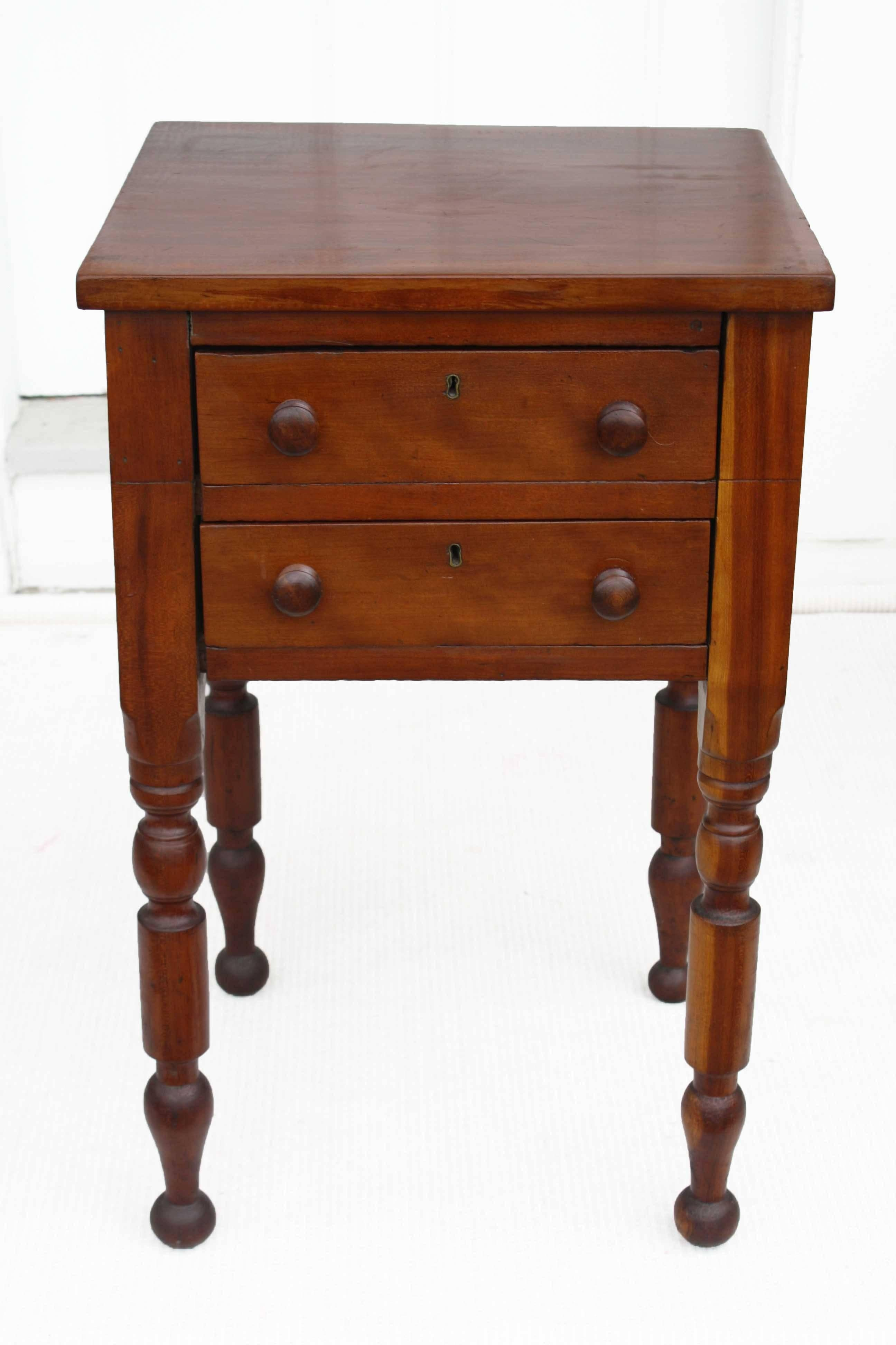 For Bedside Or Chairside, A Two Drawer U0027country Sheratonu0027 Table With  Complex Baluster