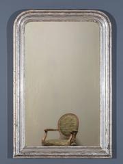 "Antique French Louis Philippe Silver Gilt Mirror circa 1895 (30 1/2""w x 46""h)"