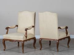 Pair of Antique French Louis XV Style Walnut Armchairs circa 1820