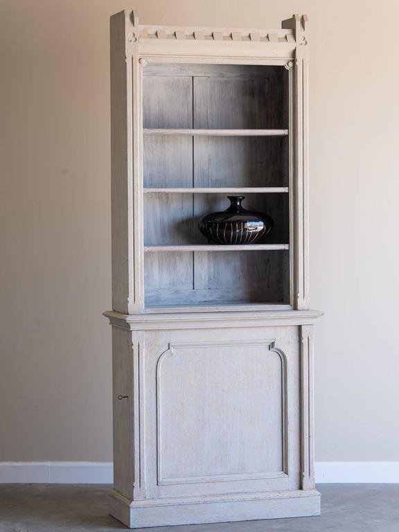 Awesome Shallow Antique English Painted Oak Display Cabinet Bookcase, Circa 1875 2