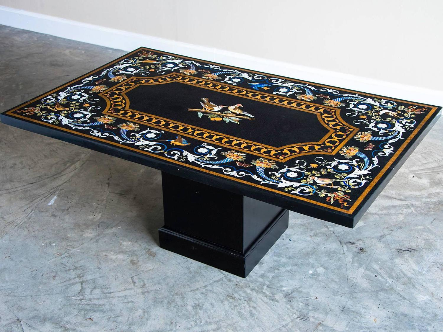 Florentine Style Pietra Dura Vintage Indian Plaque Coffee Table Circa 2000 For Sale At 1stdibs