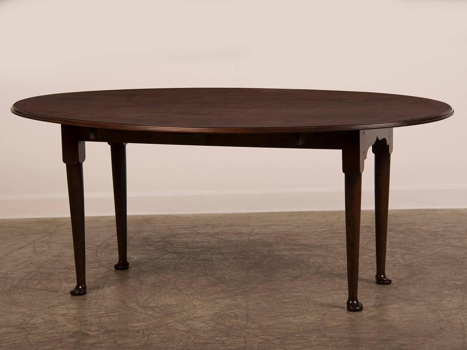 English bespoke made oval cherrywood drop leaf dining for Most beautiful dining room tables